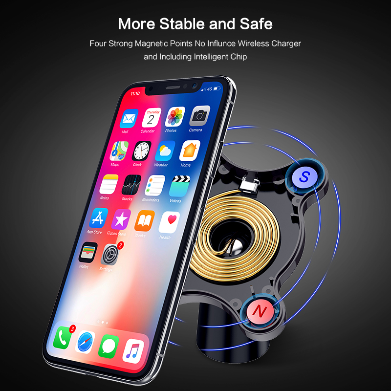 Image 3 - QI Wireless Car Charger Magnetic Quick Phone Mount Ultra Fast Qi Charging Pad Air Vent Mount  Charging Cradle For iPhone Samsung-in Wireless Chargers from Cellphones & Telecommunications