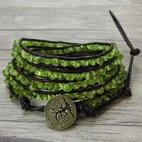 Натуральный камень оливковое beadwrap Браслет Перидот wrap браслет из бисера сырья камня, бисера кожаный браслет обруча Бохо украшения из бисера