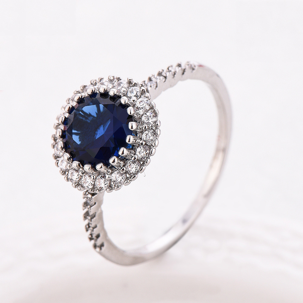 Blue Stone Ring Sets S925 Sterling Silver Rings Wedding Bague For Women AAA CZ Couple Ring Accessories Bijoux