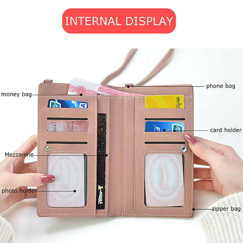 f6a6c823a6a ... Phone Wallet Crossbody Bags For Women Fashion PU Leather Long Wallets  Female Card Holder Money Bag ...