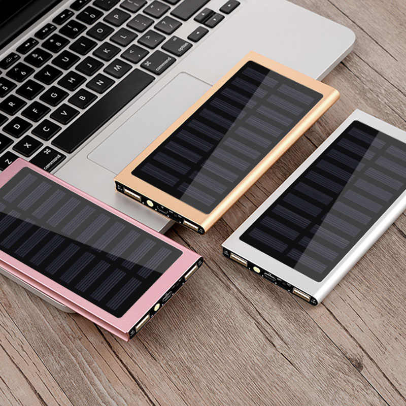 Năng lượng mặt trời 30000 mAh Power Bank Pin Ngoài 2 USB LED Powerbank Di Động điện thoại Di Động Năng Lượng Mặt Trời dành cho Xiaomi iPhone 7 8 samsung