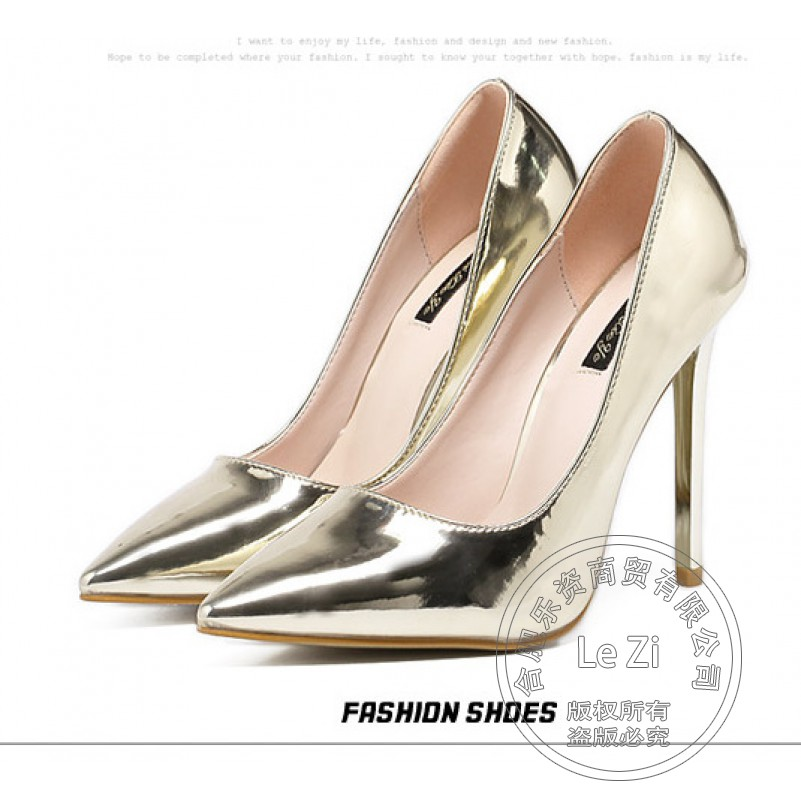 Bride New Arrival Thin High Heels Pumps 35 Small Size Gold Silver Wedding Single Dress Evening