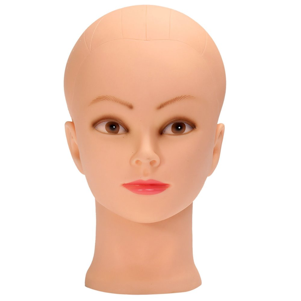 Soft Rubber Mannequin Can Use Pin for Making Full Human Hair Lace Wig Makeup Practice Training Head 26CMx53CM Skin Color 1PC