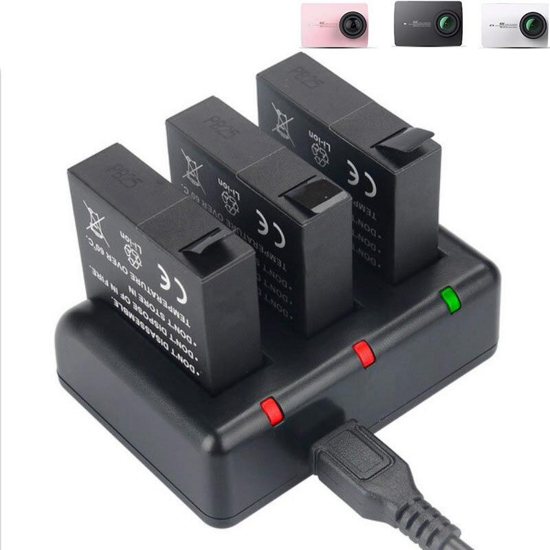 KingMa originais Xiaomi Yi 4 K Carregador de Bateria 3 PCS 1400 mAh 3 USB Canal para XiaoYi 4 K II 2 Xiaomi yi Yi 4 k plus lite Acessórios