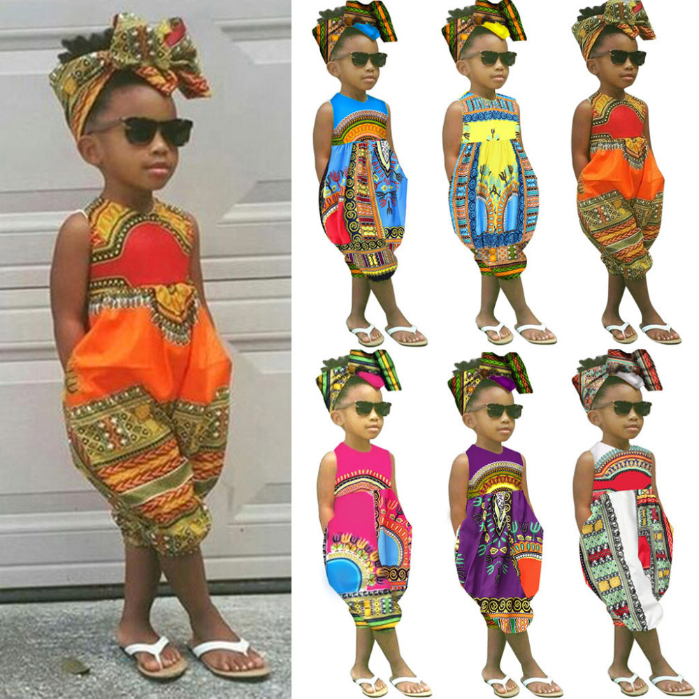 2019 Sleeveless African   Romper   Toddler Newborn Kids Baby Girl Outfits Clothes Print   Romper   Jumpsuit Baby Girl Clothes Summer