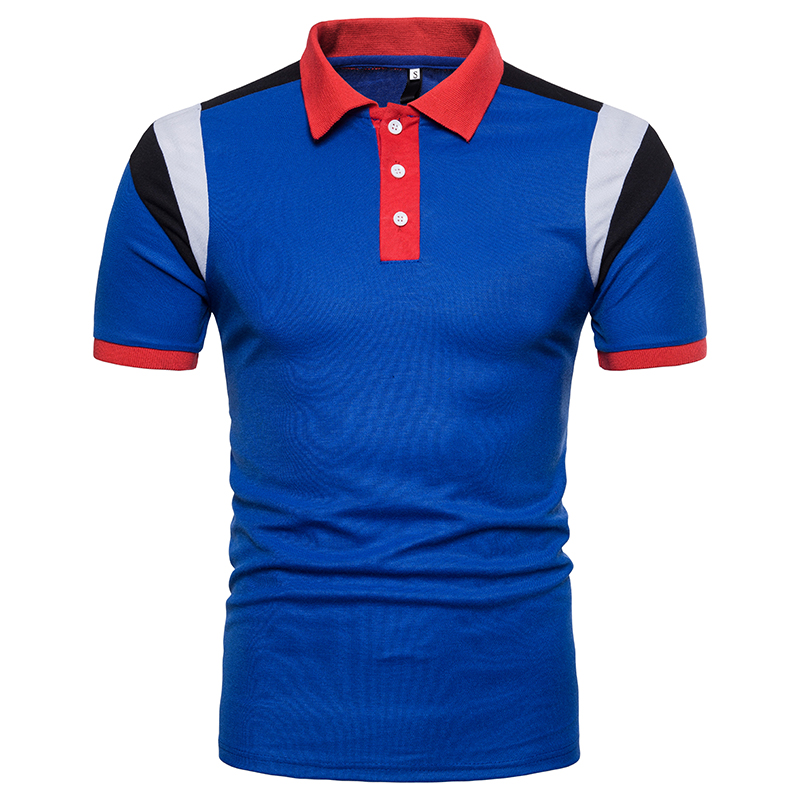 2018 EU size Men 39 s polo Shirt Clothing elastic Fashion Fitness Casual three colors patchwork color men Polo shirts Free Shipping in Polo from Men 39 s Clothing