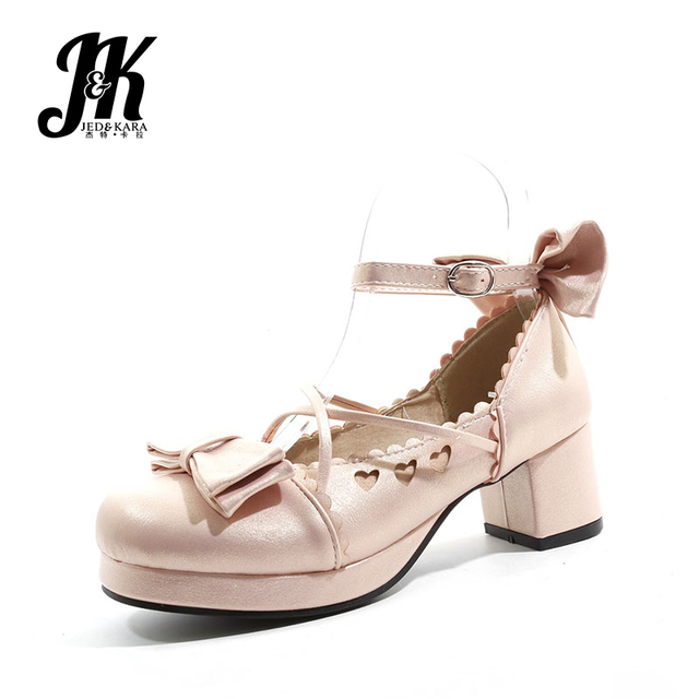 JK 2019 Thick Platfrom Heels Med Pumps Women Round Toe Footwear Ankle Strap Shoes Sweet Female Lolita Shoes Woman Big Size 48