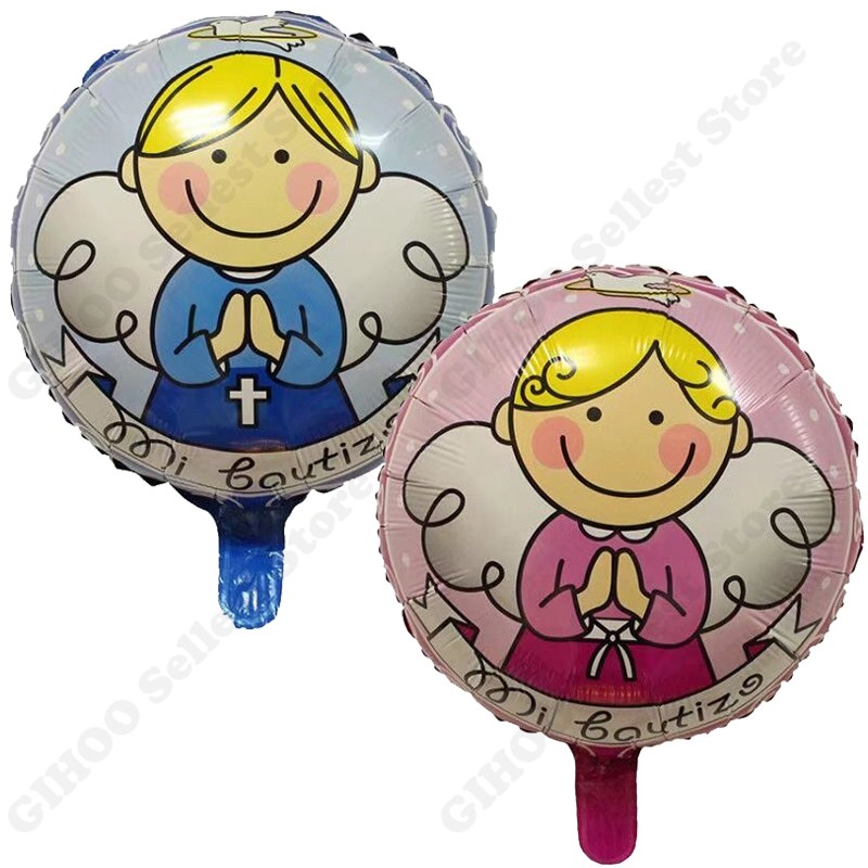 6pcs/lot 18inch Pink angel baby balloons for newborn birthday party supplies decoration baby boy and girl foil helium balloon
