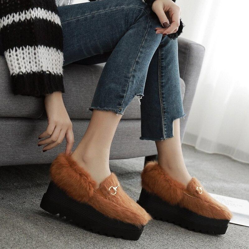 Angleterre Épais Noir Hzb Vent Fond Lapin Fourrure De brown Plus 32 Plate Velours Chaussures Poadisfoo Crinière forme Pente Avec 763 RqpzxY