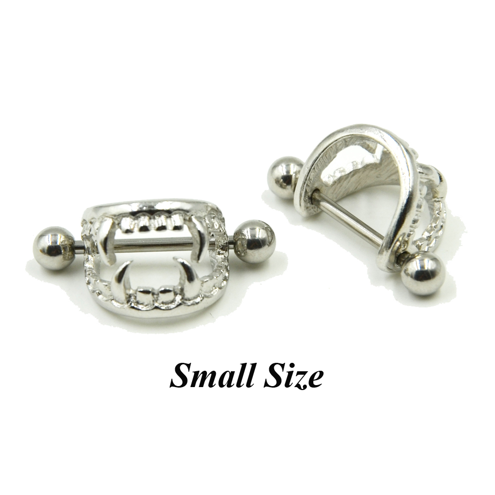 Pair of 14G Stainless Steel Barbell Love Bite Fangs Vampire Nipple - Fashion Jewelry - Photo 4