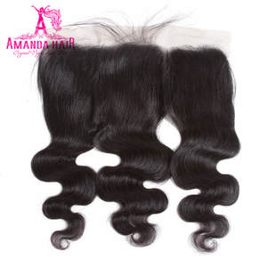 Amanda Brazilian Body Wave Lace Frontal Closure Free Part Remy Human Hair 13x4 Pre Plucked Baby Hair 130% Density Closure