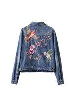 Women Fashion Vintage Floral Bird Animal Single Breasted Embroidered Denim Jacket Loose Long Sleeve Drop Shoulder