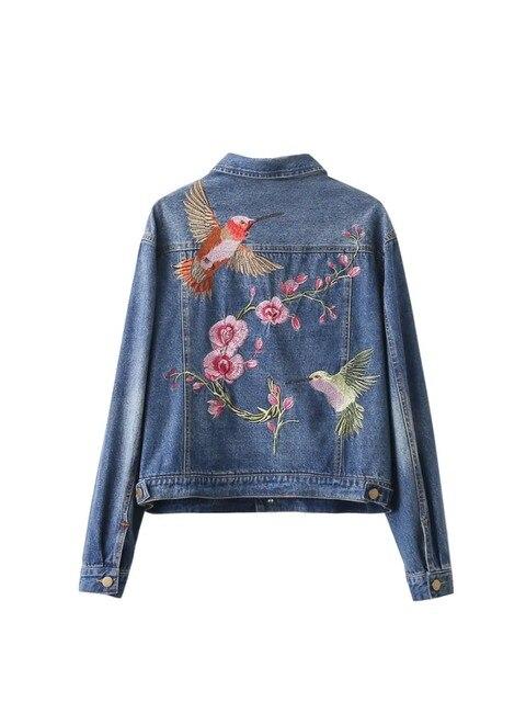 Women fashion vintage floral bird animal single-breasted embroidered denim jacket loose long sleeve drop shoulder coat S-L