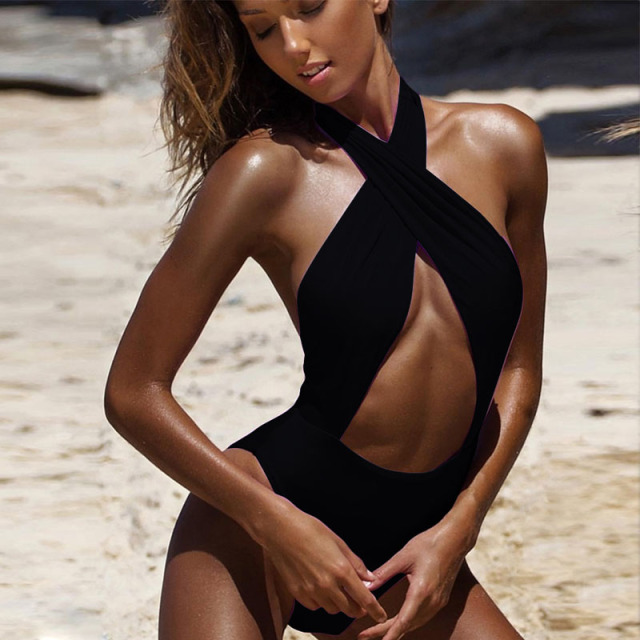 Halter Cross Neck Swimsuit 2018 New One Piece Swimsuit Hollow Out Swimwear Women Monokini High Waist Beachwear Bathing Suit 3335