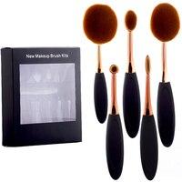 Fashion Rose Gold 5 Pcs Professional Foundation Powder Brush Kit Tooth Brush Shape Multipurpose Oval Makeup