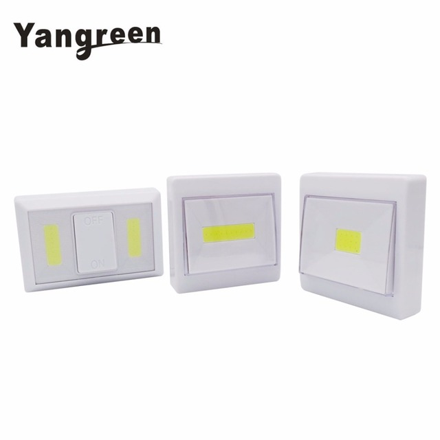 COB LED Magnetic Switch Night Light Battery Operated Cordless Under Cabinet Lighting With Magnetic & Sticker Night Lamp
