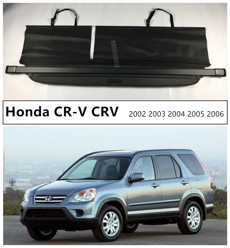 Car Rear Trunk Security Shield Cargo Cover For Honda CR-V CRV 2002 2003 2004 2005 2006 High Qualit Black Beige Auto Accessories