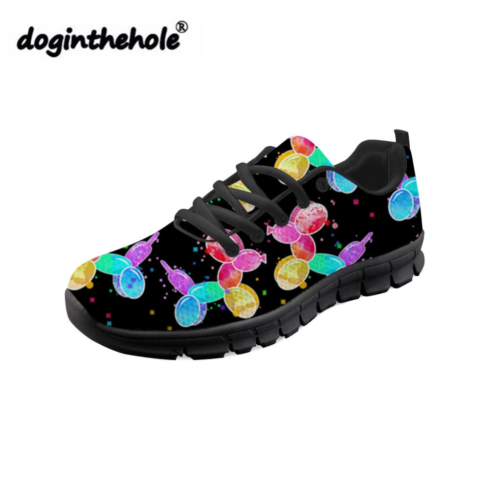 doginthehole Zapatos Mujier Funny Balloon Dog Printing Flat Shoes Women Fashion Mesh Flats for Teenagers Lace up Black Sneakers