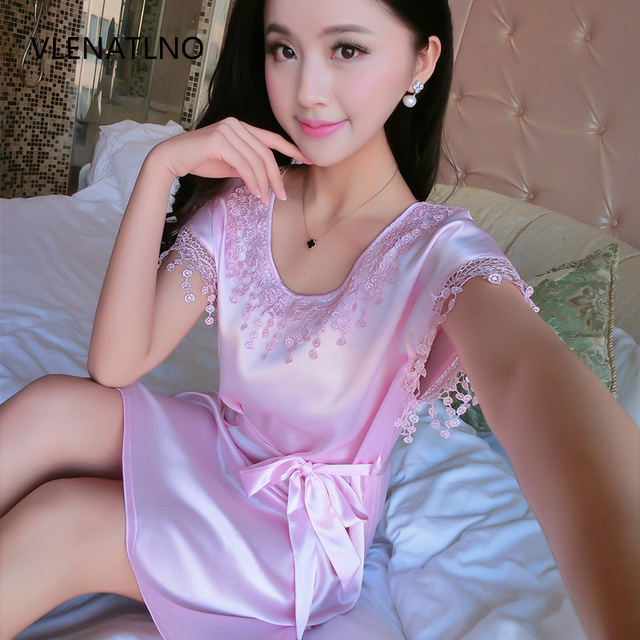Summer Sexy Silk Nightgown Sleepshirts Women Short-sleeves Sleepwear Lounge Casual Satin Silky Nightwear Female Dress