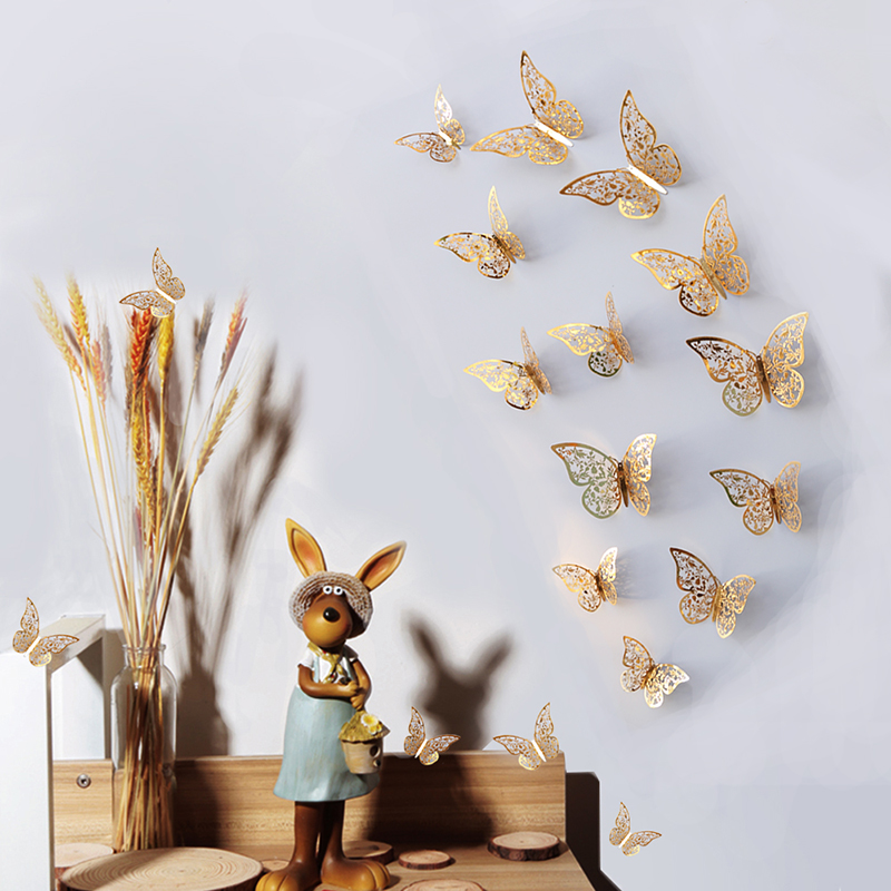 24pcs PVC butterfly sticker 3D Wall Stickers Home Decor Poster Kids Rooms Wall Decoration Party Fridge stickers Decoration