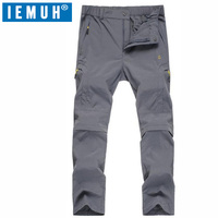 IEMUH Men Outdoor Summer Waterproof Coolmax Pants Removable Stretch Pants Women Running Camping Mountain Climbing Sport Pants