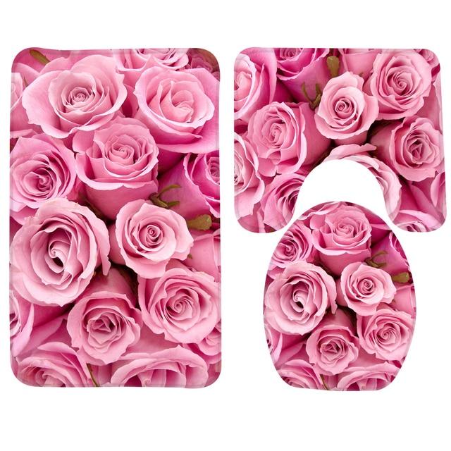 3 pz Bagno Mat Set Rosa Roses Motivo Bath Mat Anti Slip Doccia Tappeto e Tappeti