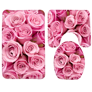 3pcs Bathroom Mat Set Pink Roses Pattern Bath Mat Anti Slip Shower Mat and Toilet Mat Bathroom Products