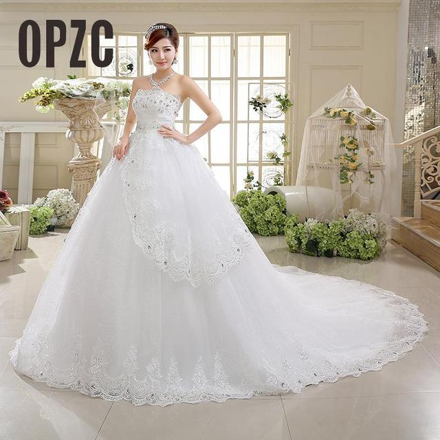 Real Photo Korean Style Luxury Princess Long Train Bow Designer Plus Size Wedding Gowns Dresses