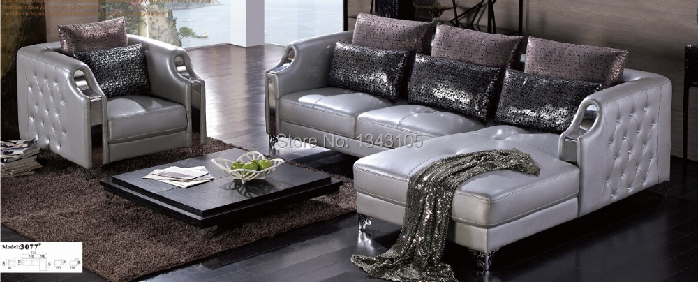 LBZ 3077 Silver Furniture Home Corner Sofa Living Room Leather Sofas In Livi