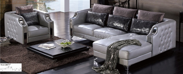 Attrayant LBZ 3077# Silver Furniture Home Corner Sofa Living Room Leather Sofas