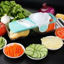 Gemüseschneider Box Einstellbar Mandolinenschneider mit 4 Austauschbar Edelstahl Klingen Schäler Reibe BOX
