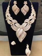 GODKI 큰 호화로운 꽃 꽃 최고 빛나는 여자 결혼식 입방 지르코니아 목걸이 귀걸이 사우디 아라비아 보석 세트 중독