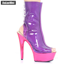 jialuowei Clear Purple Summer Mid Calf Boots Women Extreme High Heels Peep Toe Transparent Boot with Platform PVC Femmale Shoes