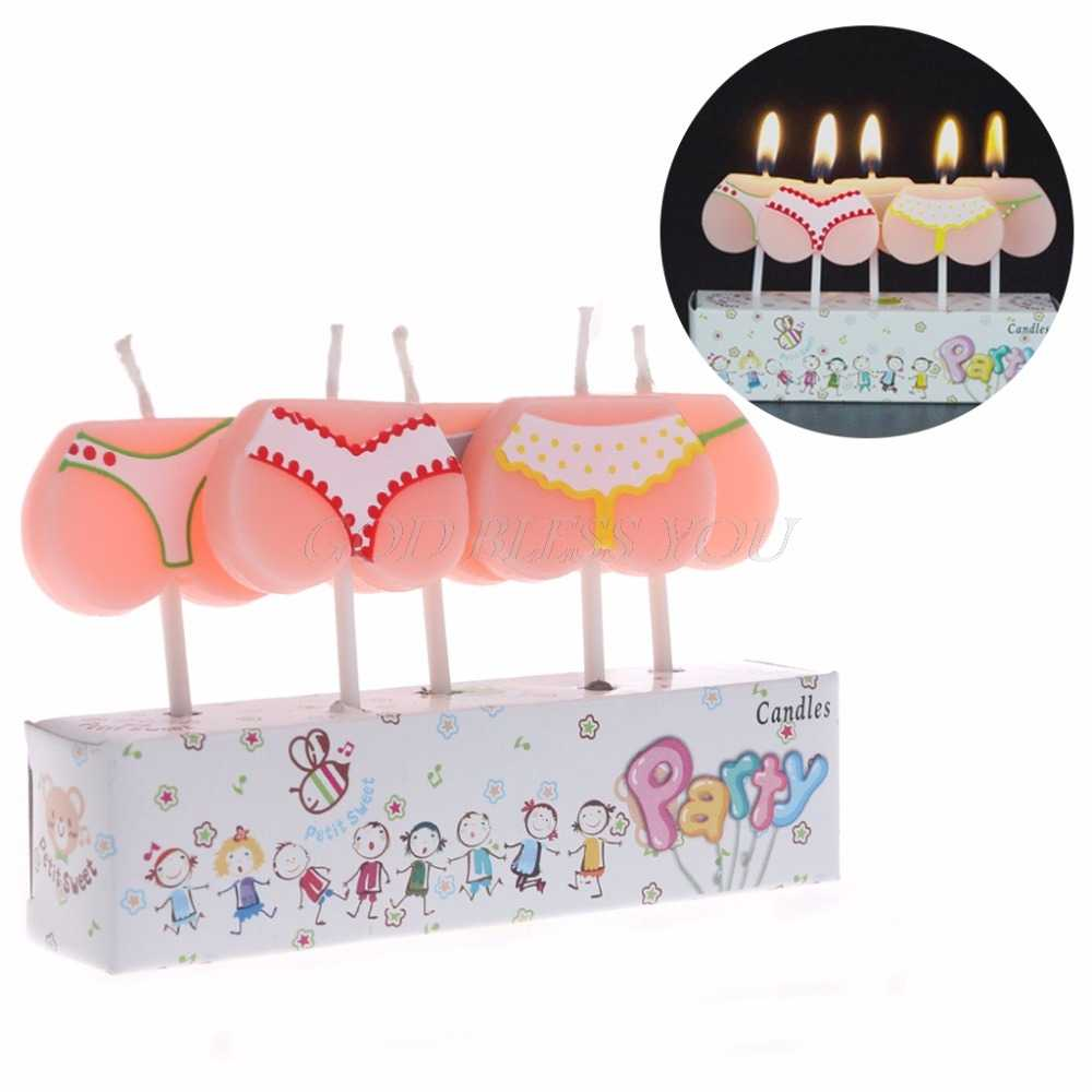 5PCS Cake Topper Cartoon Bikini Buttom Candles Birthday Party Christmas Decor