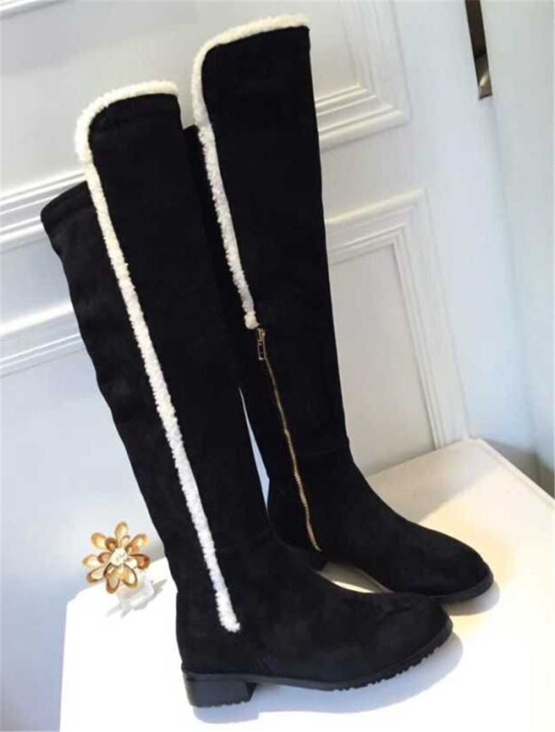 New Style Black Grey Suede Long Women Boots Round Toe Mid Heel Knee High Boots Shoes Woman Brand Autumn Winter Boots Botas Mujer sheffilton колонна пятигоршковая медный антик