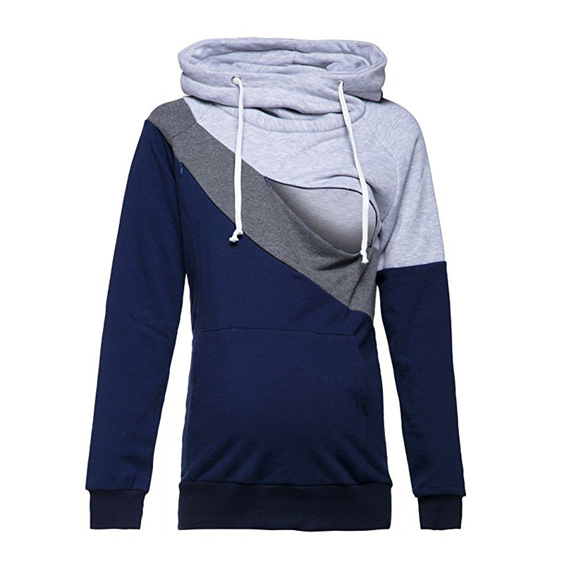 ENXI Breastfeeding Sweatshirt Autumn Spring Casual Patchwork Maternity Clothes Long Sleeve Nursing Hoodies Pullover For Pregnant