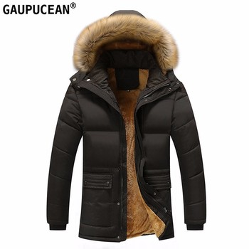 Men Cotton-padded Jacket Hooded Fur Hat Detachable Pockets Zip Buttons New Thick Warm Clothes Fleece Man Cotton Padded Coat