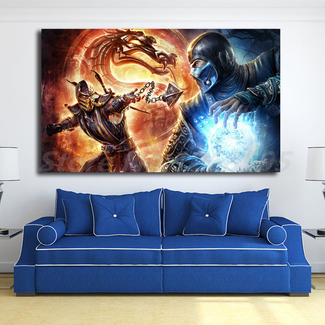 Mortal Kombat Scorpion Vs Sub Zero Wallpaper Hd Art Canvas Poster