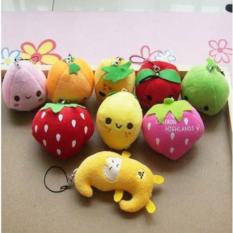 20 unids / lote venta al por mayor de juguete de felpa frutas decoración regalo smallFruit teléfono móvil colgante fresa plátano manzana sandía juego de mascotas