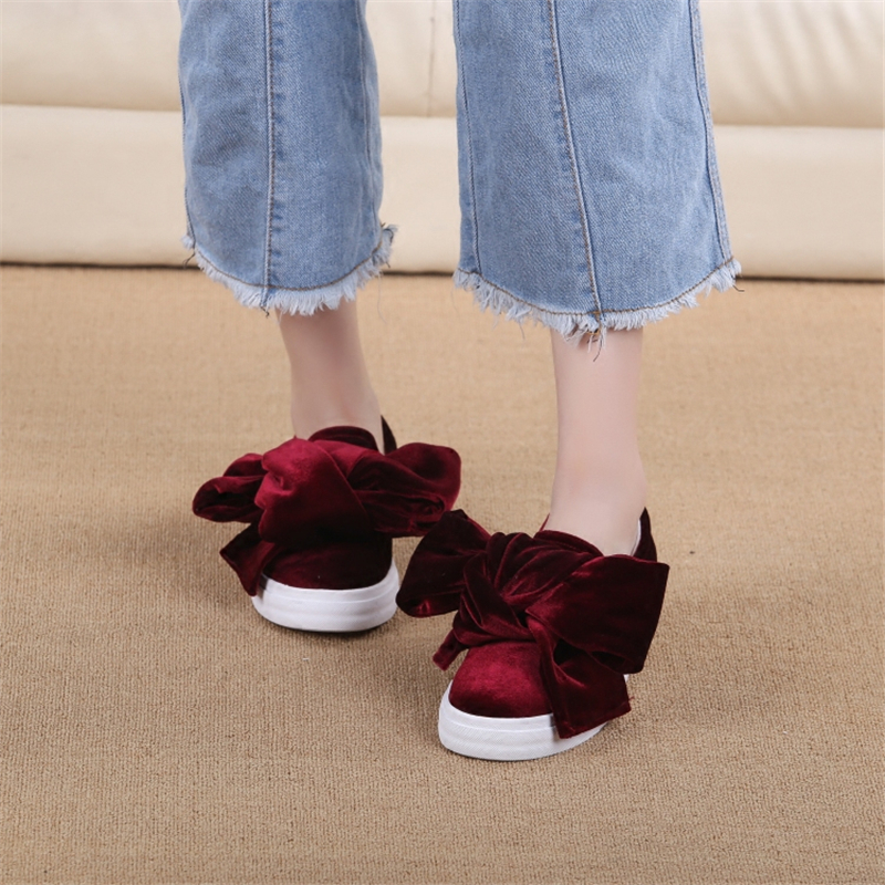 Femme Plates Bowknot Rond Simples Printemps Sur Glissement 2017 Chaussures Femmes Semelle Bout Velours b Mocassins Épais c Appartements Casual Bowtie A qawWZ0Ex