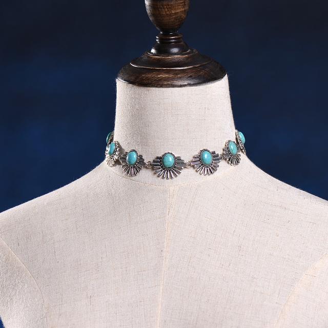 Stylish Collar Silver Turquoise