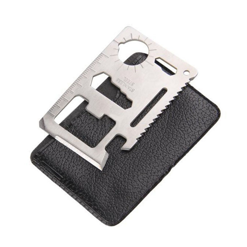 繊細なハンドツール多機能11-in-1ステンレス鋼サバイバルツールキャンプ緊急応急処置カードポケットサバイバルナイフ