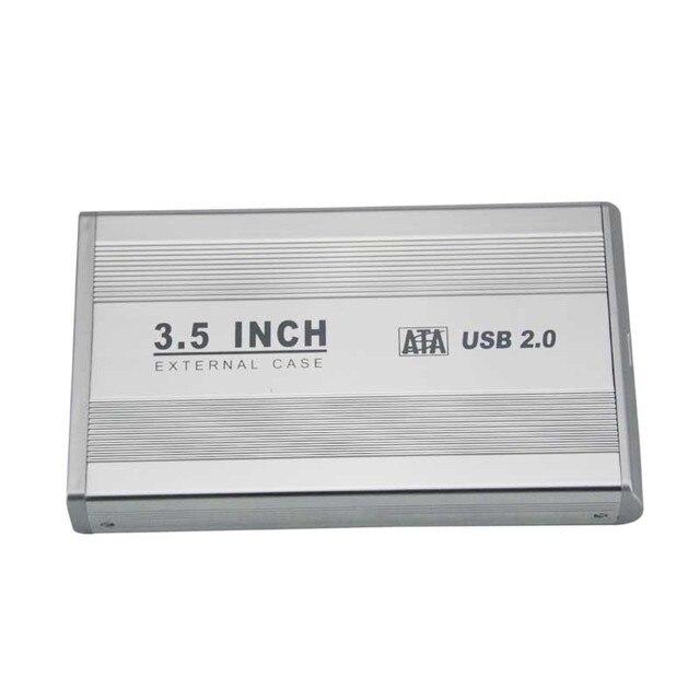 Nueva 3.5 pulgadas de Plata USB 2.0 SATA HDD HD Externas de Disco Duro Caja de La Plata