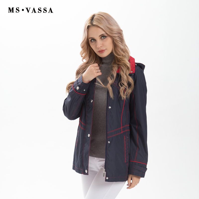 MS VASSA Women Jackets 2019 New Spring Autumn casual coats detachable hood turn down collar plus