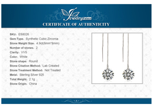 JewelryPalace 5.2ct  Round Cut Earrings Real 925 Sterling Silver Fine Jewelry Fashion Long Earrings for Wedding Engagement Gift