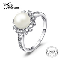 JewelryPalace Snowflake 7mm Freshwater Cultured Pearl Halo Enagement Ring 925 Sterling Silver Ring Fashion Women Fine