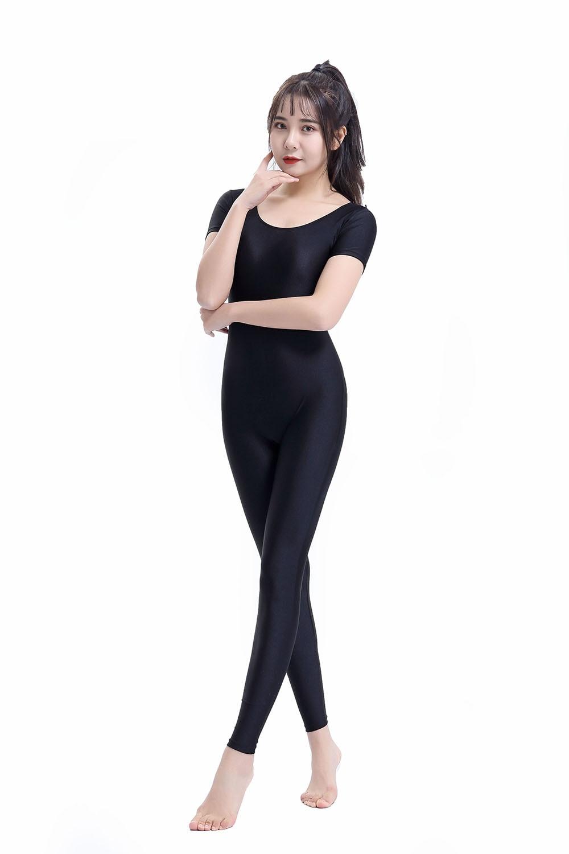 Mono Traje De Baile Body Unitard Para Mujer Con Cuello Redondo De Manga Larga