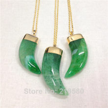 H-QN110 Green Dragon Agat Onyx Horn Tusk Pendant Necklace Gold Color(China)