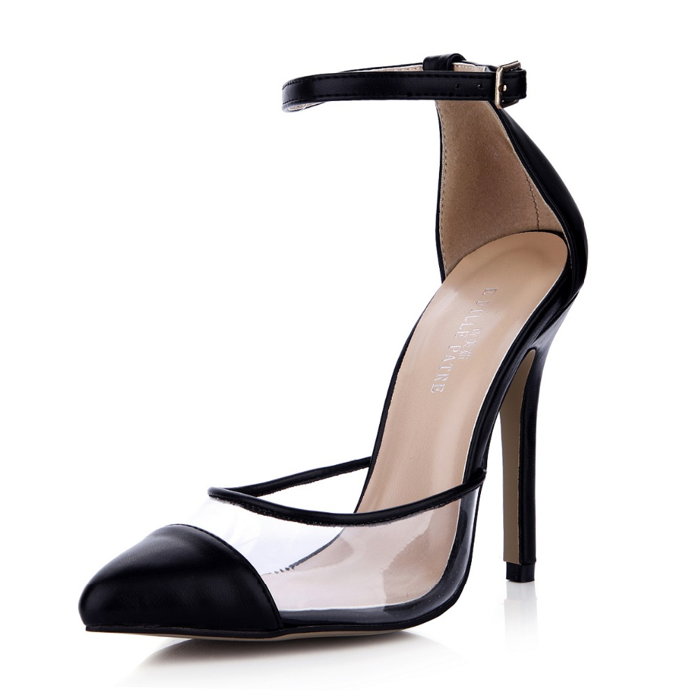 Brand Pointed Toe Transparent High Heeled White Ankle Strap Sexy High Heels Black Woman Pumps Buckle Ladies Shoe Sandals Fashion nis woman boho shoes block heels sandals white gray open toe flats for ladies solid buckle ankle strap sandal low heel flat shoe