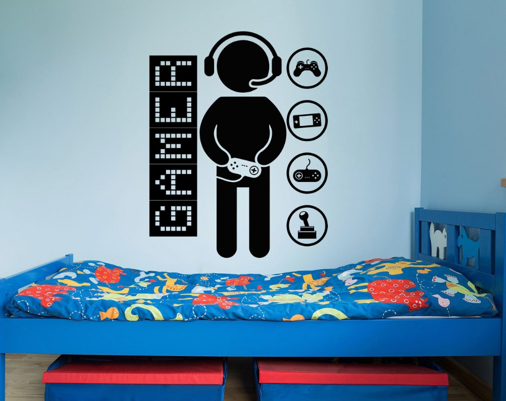 Removable Game Controllers Gaming Vinyl Wall Sticker Video Game Boys  Children Room Decor Sticker Gamer Boys Wall Decal M 104